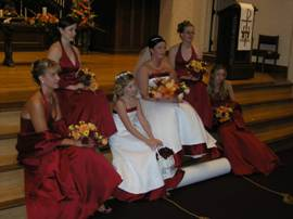 Bridal Party from a September Wedding, Holding Orange & Red Roses, Yellow Sweeheart Roses, Viking Pompons, Pink Calcynia & Orange Lilies